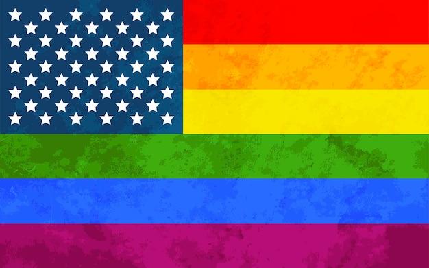 Bandiera dell'orgoglio usa con texture grunge, segno della comunità lgbt