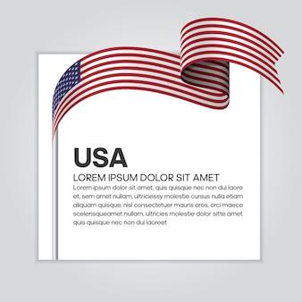Bandiera del nastro usa, illustrazione vettoriale su sfondo bianco