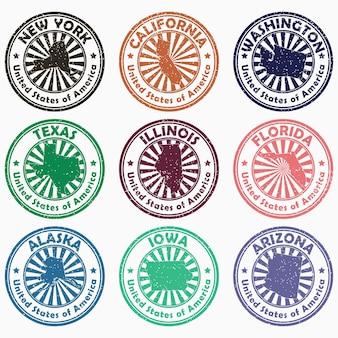 Francobolli usa con il nome e la mappa degli stati set di segni vintage grunge degli stati uniti d'america