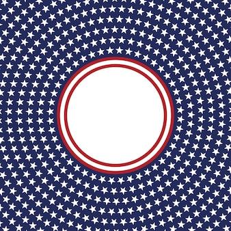 Modello di vettore stella usa cornice rotonda bordo cerchio patriottico americano con motivo a stelle e strisce