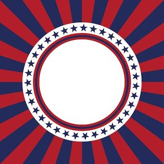 Modello vettoriale stella usa cornice rotonda bordo del cerchio patriottico americano con stelle e strisce