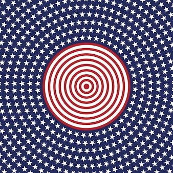 Modello rotondo di vettore stella usa. cerchio patriottico americano a stelle e strisce.