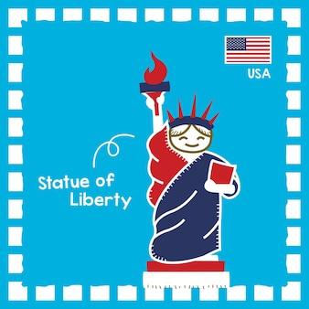Illustrazione del punto di riferimento della statua della libertà degli stati uniti con un simpatico design del timbro