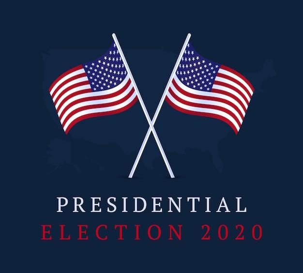 Bandiera di voto usa. bandiera delle elezioni presidenziali degli stati uniti d'america 2020. sfondo elettorale vota il 2020 con la bandiera americana