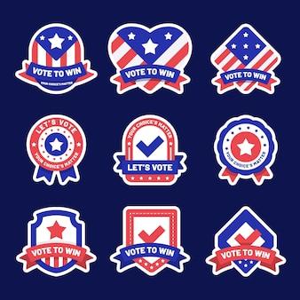 Collezione di badge di voto negli stati uniti