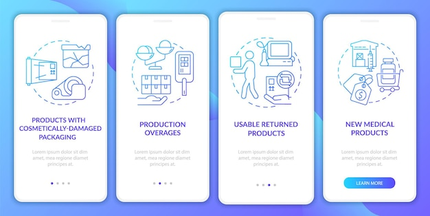 Schermata della pagina dell'app mobile di onboarding del prodotto restituito utilizzabile
