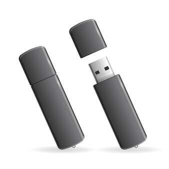 Usb flash drive isolati neri su sfondo bianco.