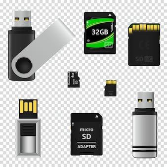 Chiavette usb e schede di memoria isolate su sfondo trasparente