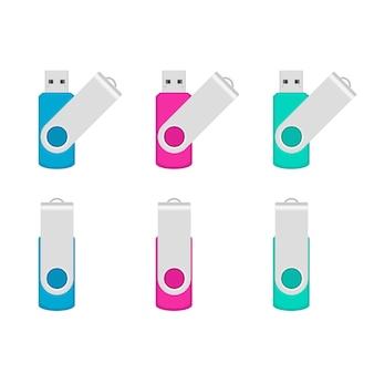 Chiavette usb con set colorato di clip metalliche girevoli. semplice illustrazione vettoriale piatto isolato su sfondo bianco