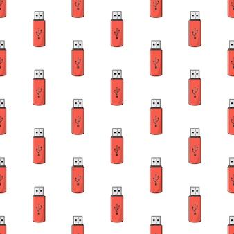 Usb memory stick seamless pattern su uno sfondo bianco. flash drive tema illustrazione vettoriale