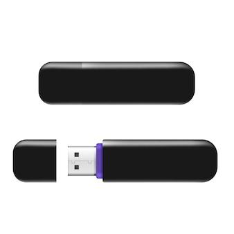 Chiavette usb flash drive realistico isolato su sfondo bianco.