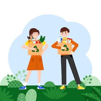 Usa i sacchetti per il riciclaggio ragazza e ragazzo con le merci nei sacchetti per il riciclaggio eliminazione dei rifiuti ecologica