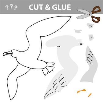 Usa forbici e colla e ripristina l'immagine all'interno del contorno. gioco di carta educativo facile per i bambini. semplice applicazione per bambini con seagull