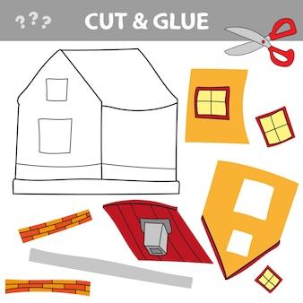 Usa forbici e colla e ripristina l'immagine all'interno del contorno. gioco di carta per bambini. semplice applicazione per bambini con toy house. taglia la colla per formiche.