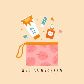 Usa la protezione solare. illustrazione di crema e balsamo per le labbra di lozione per la protezione solare sun