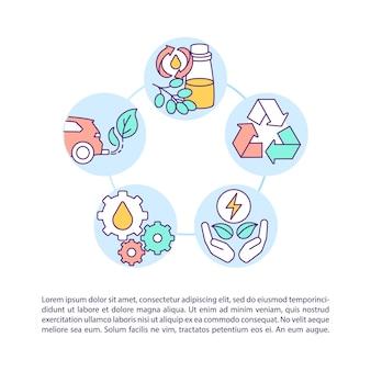 Icona di concetto di recupero e riciclaggio dell'olio usato con testo. riduzione del consumo di carburante dell'impianto. modello di pagina ppt. brochure, rivista, elemento di design opuscolo con illustrazioni lineari
