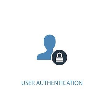 Autenticazione utente concetto 2 icona colorata. illustrazione semplice dell'elemento blu. progettazione di simboli di concetto di autenticazione dell'utente. può essere utilizzato per ui/ux mobile e web