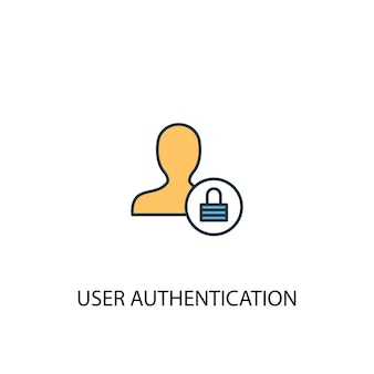 Autenticazione utente concetto 2 icona linea colorata. illustrazione semplice dell'elemento giallo e blu. progettazione di simboli di contorno del concetto di autenticazione utente
