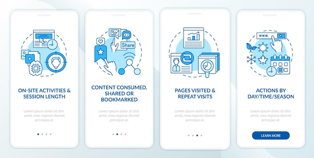 Schermata blu della pagina dell'app per dispositivi mobili di onboarding dell'analisi del comportamento dell'utente