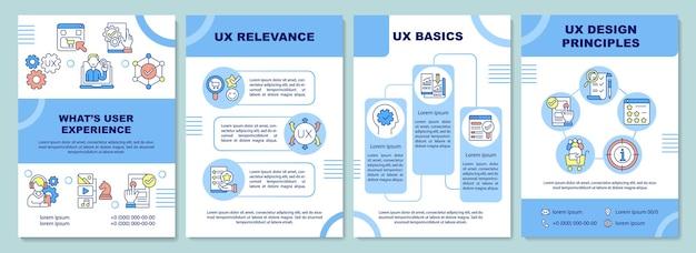 Modello di brochure dell'esperienza utente. rilevanza dell'esperienza utente. principi di progettazione. volantino, opuscolo, stampa di volantini, copertina con icone lineari. layout vettoriali per presentazioni, relazioni annuali, pagine pubblicitarie