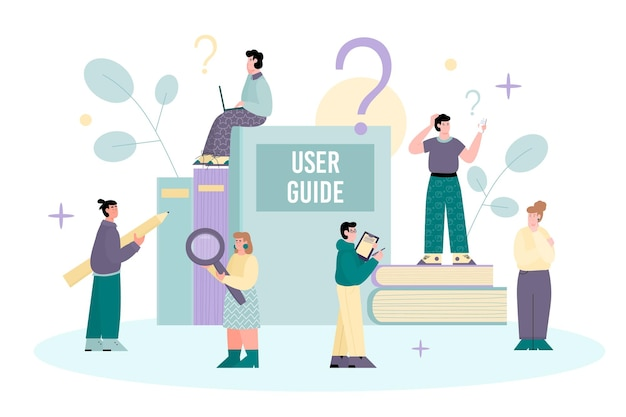 Guida per l'utente e istruzioni per l'uso dell'illustrazione di vettore del fumetto isolata