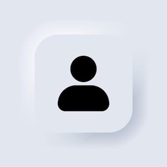 Icona utente. simbolo della persona umana. icona del profilo sociale. segno di accesso dell'avatar. simbolo dell'utente web. pulsante web dell'interfaccia utente bianco neumorphic ui ux. neumorfismo. vettore eps 10.