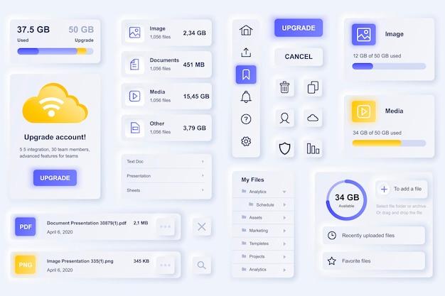 Elementi dell'interfaccia utente per l'app mobile con tecnologia cloud
