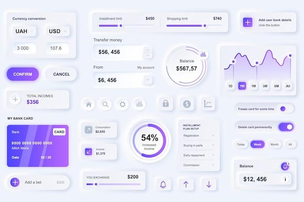 Elementi dell'interfaccia utente per l'app mobile del servizio finanziario