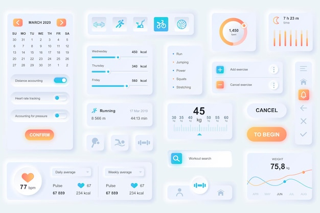 Elementi dell'interfaccia utente per l'app mobile di fitness. unico design neumorfico ui, ux, gui, modello di elementi kit. stile neumorfismo. forma diversa, componenti, pulsanti, menu, icone vettoriali di sport.
