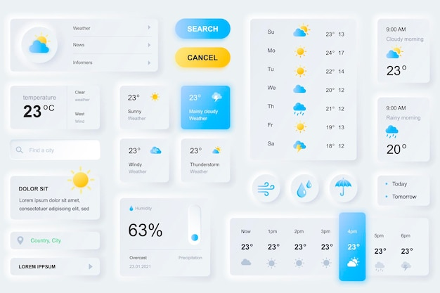Elementi dell'interfaccia utente per l'app mobile per le previsioni del tempo