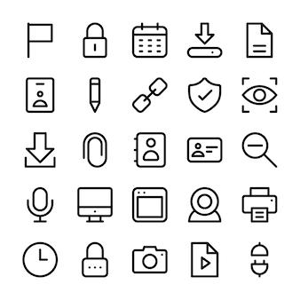 Pacchetto icone linea interfaccia utente