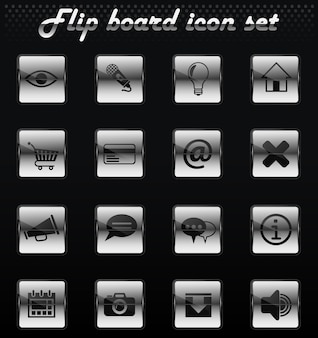 Icone meccaniche flip di vettore dell'interfaccia utente per il design dell'interfaccia utente