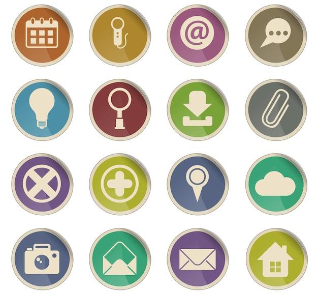Icone vettoriali dell'interfaccia utente sotto forma di etichette di carta rotonde