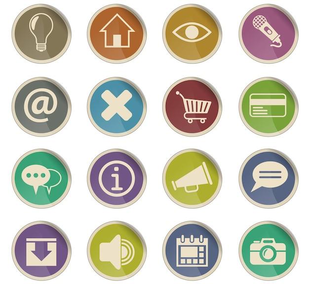 Icone web dell'interfaccia utente sotto forma di etichette di carta rotonde