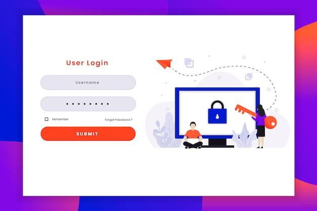 Illustrazione di accesso dell'utente con un carattere di due persone