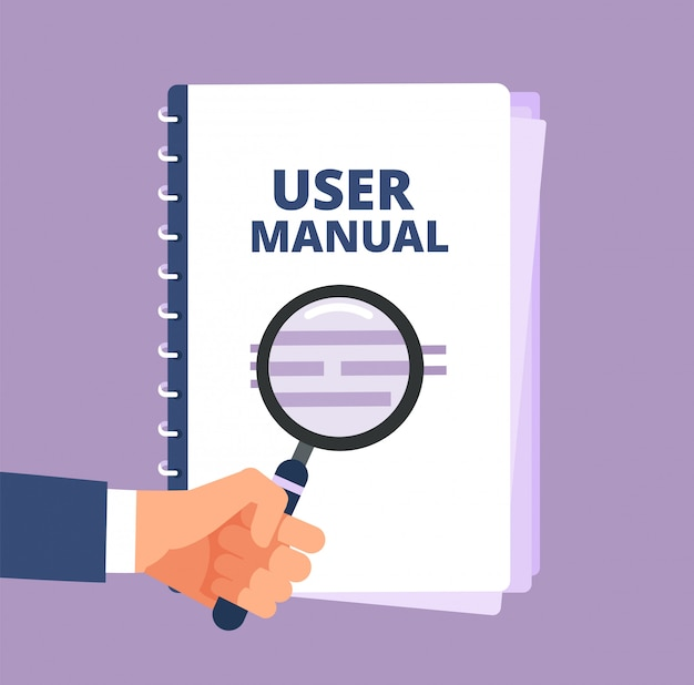 Manuale utente con lente d'ingrandimento. documento guida utente e lente d'ingrandimento. icona di vettore del manuale, manuale, istruzioni e guida