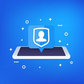 Privacy dell'utente, icona di vettore di sicurezza mobile