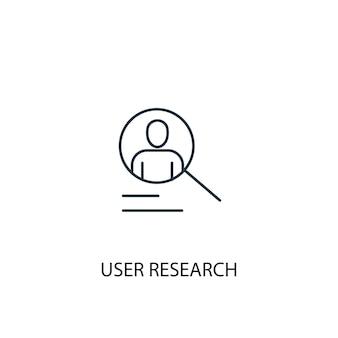 Icona della linea del concetto di ricerca utente. illustrazione semplice dell'elemento. disegno di simbolo di contorno del concetto di ricerca utente. può essere utilizzato per ui/ux mobile e web