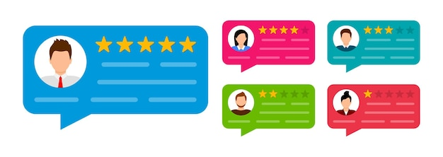 Set di recensioni degli utenti. opinione del cliente. revisione di discorsi in bolla con stelle messaggio di notifica. valutazione del feedback.