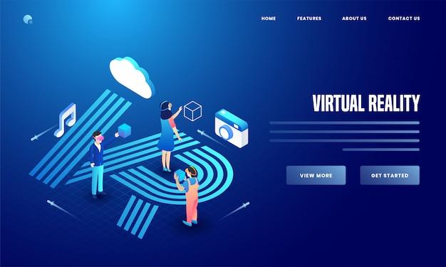 Utente che utilizza social media e strumenti di analisi di telecamere, cloud e note musicali per la progettazione di pagine di destinazione di siti web di realtà virtuale. Vettore Premium