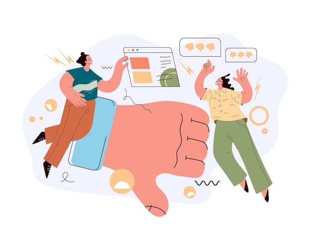 Gli utenti odiano il carattere della gente che spinge l'illustrazione del pulsante di antipatia