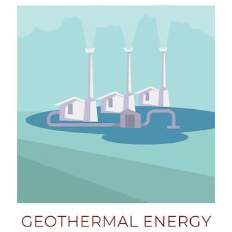 Utilizzo di risorse naturali sostenibili e rinnovabili per generare energia. stazione di energia geotermica con vapore caldo. efficienza ed ecologia, turbine che accumulano e producono. vettore in stile piatto