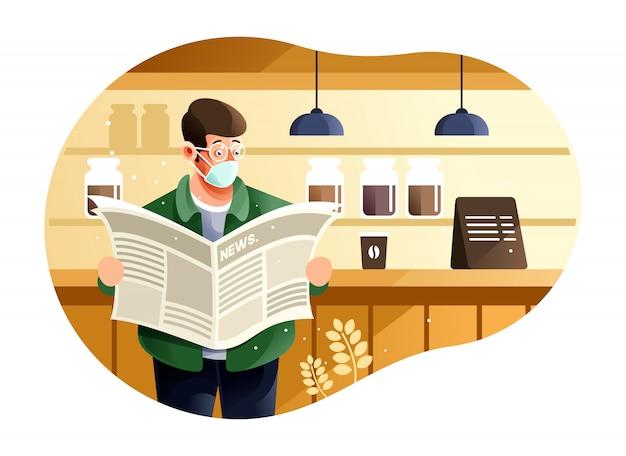Utilizzando una maschera protettiva quando si legge il giornale in una nuova normalità perché coronavirus