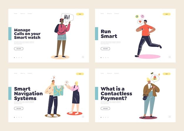 Utilizzo di un set di pagine di destinazione con personaggi dei cartoni animati che indossano smartwatch e chiamano, pagano, utilizzano gps e fanno jogging