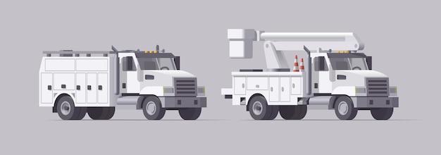 Set di camion di utilità. camion benna aerea isolata. raccoglitrice di ciliegie. camion di servizio box. collezione