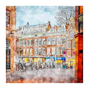 Utrecht paesi bassi acquerello schizzo disegnato a mano