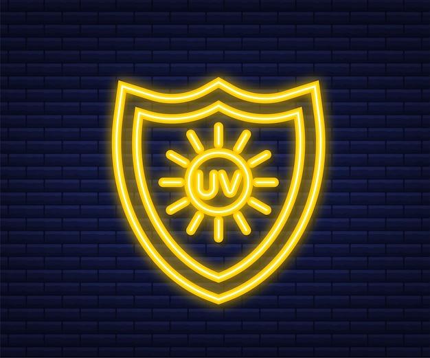 Protezione uv. simbolo dell'icona del sole. simbolo di pericolo. radiazione uv. icona al neon. illustrazione vettoriale.