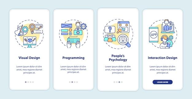 Schermata della pagina dell'app mobile onboarding del design ux. visualizzazione, guida alla programmazione istruzioni grafiche in 4 fasi con concetti. modello vettoriale ui, ux, gui con illustrazioni a colori lineari