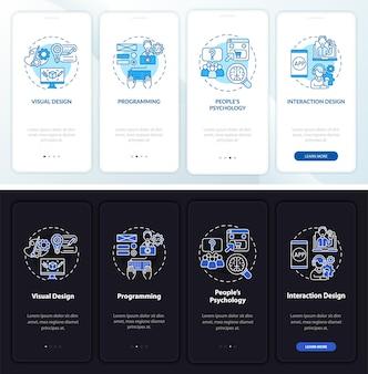 Schermata della pagina dell'app mobile onboarding del design ux
