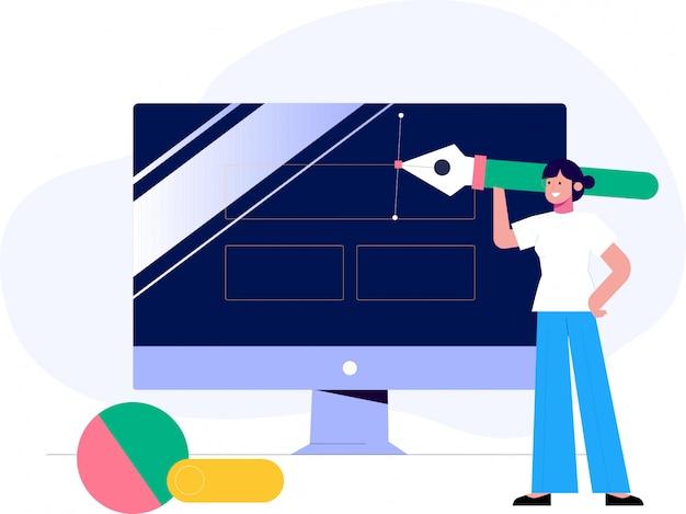 Concetto dell'illustrazione di vettore di progettazione di ux, funzionamento del web designer